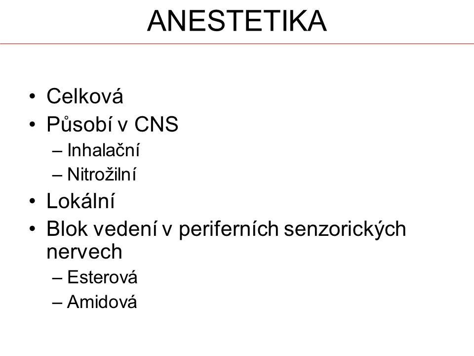 Celková Působí v CNS –Inhalační –Nitrožilní Lokální Blok vedení v periferních senzorických nervech –Esterová –Amidová
