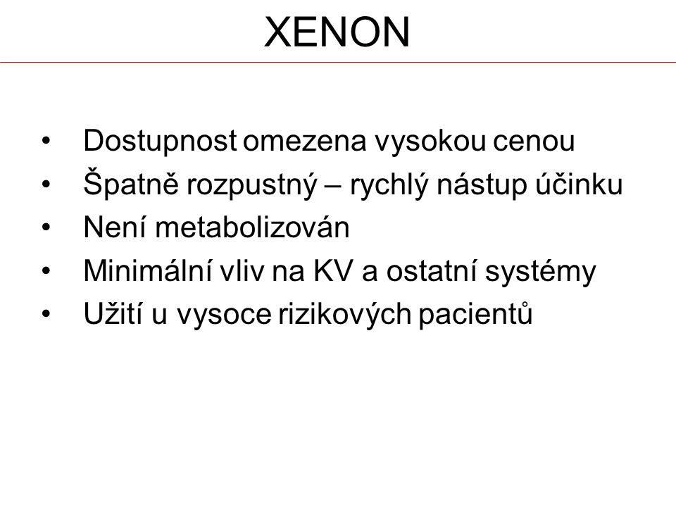 XENON Dostupnost omezena vysokou cenou Špatně rozpustný – rychlý nástup účinku Není metabolizován Minimální vliv na KV a ostatní systémy Užití u vysoc
