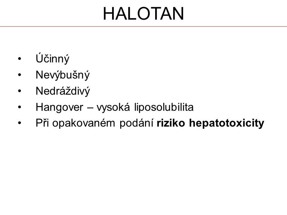 HALOTAN Účinný Nevýbušný Nedráždivý Hangover – vysoká liposolubilita Při opakovaném podání riziko hepatotoxicity