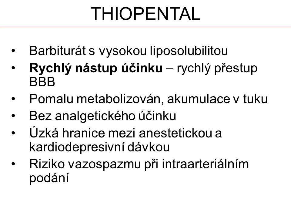 THIOPENTAL Barbiturát s vysokou liposolubilitou Rychlý nástup účinku – rychlý přestup BBB Pomalu metabolizován, akumulace v tuku Bez analgetického účinku Úzká hranice mezi anestetickou a kardiodepresivní dávkou Riziko vazospazmu při intraarteriálním podání