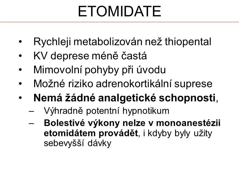 ETOMIDATE Rychleji metabolizován než thiopental KV deprese méně častá Mimovolní pohyby při úvodu Možné riziko adrenokortikální suprese Nemá žádné analgetické schopnosti, –Výhradně potentní hypnotikum –Bolestivé výkony nelze v monoanestézii etomidátem provádět, i kdyby byly užity sebevyšší dávky