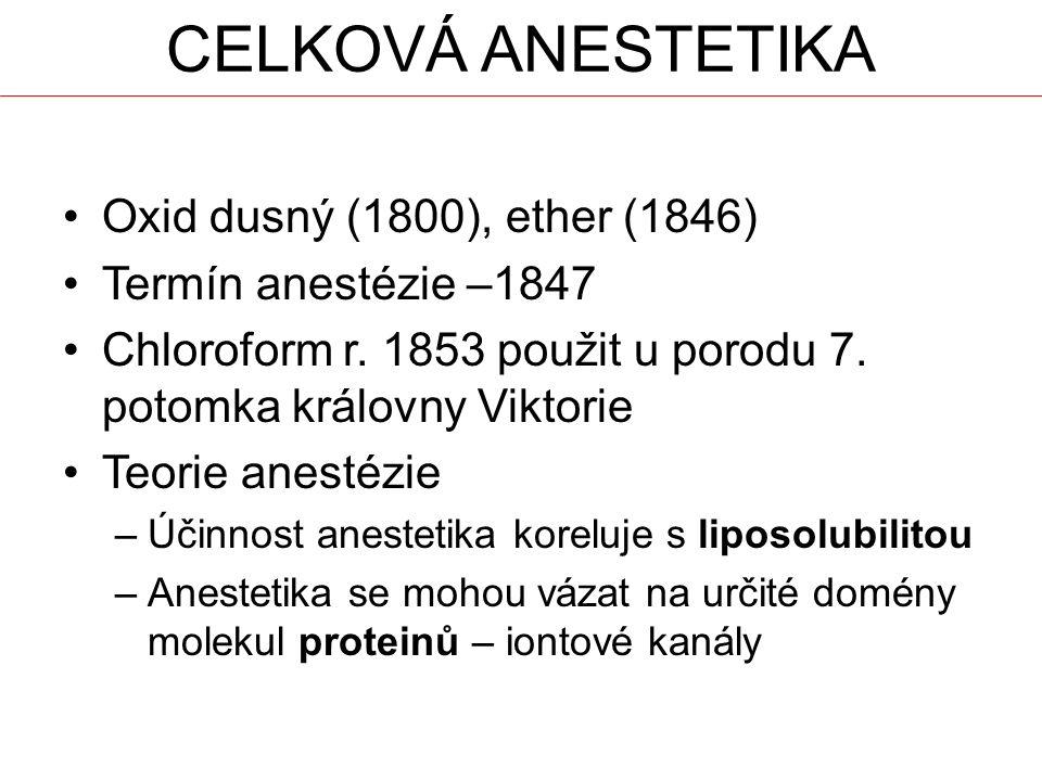 Oxid dusný (1800), ether (1846) Termín anestézie –1847 Chloroform r. 1853 použit u porodu 7. potomka královny Viktorie Teorie anestézie –Účinnost anes
