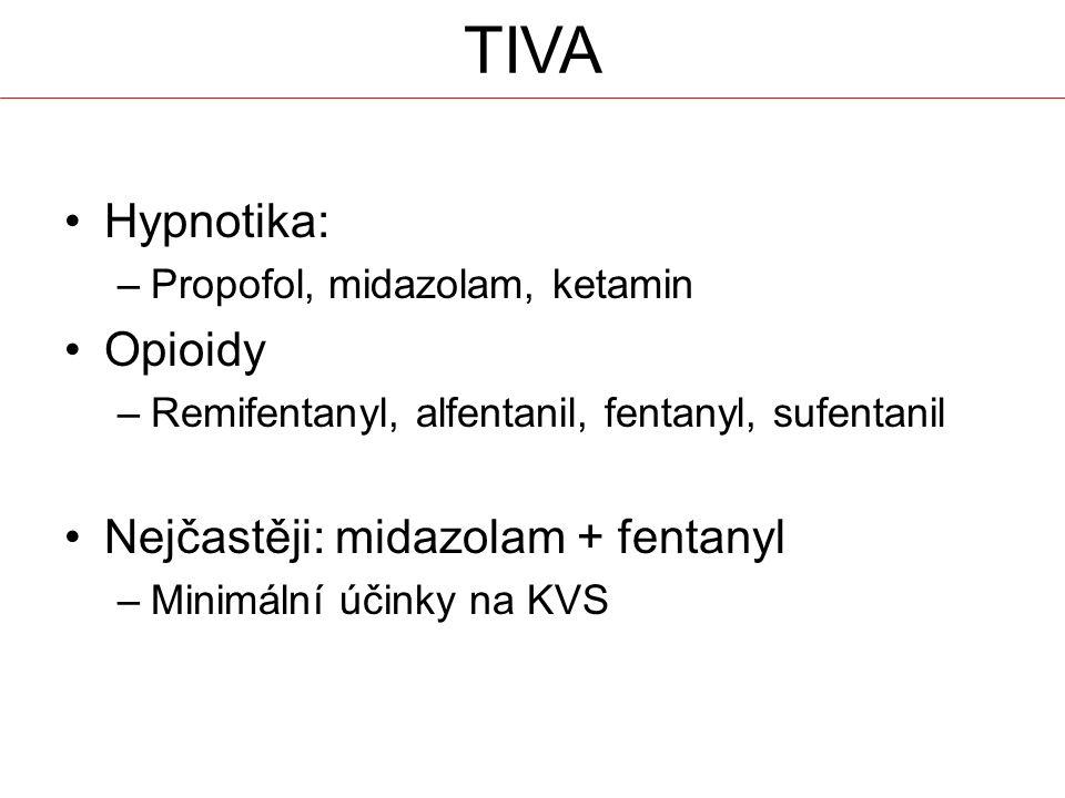 TIVA Hypnotika: –Propofol, midazolam, ketamin Opioidy –Remifentanyl, alfentanil, fentanyl, sufentanil Nejčastěji: midazolam + fentanyl –Minimální účinky na KVS