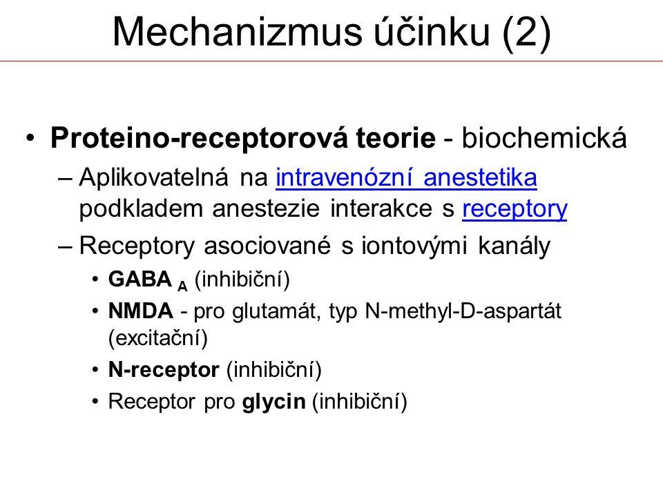 Proteino-receptorová teorie - biochemická –Aplikovatelná na intravenózní anestetika podkladem anestezie interakce s receptoryreceptory –Receptory asociované s iontovými kanály GABA A (inhibiční) NMDA - pro glutamát, typ N-methyl-D-aspartát (excitační) N-receptor (inhibiční) Receptor pro glycin (inhibiční) Mechanizmus účinku (2)