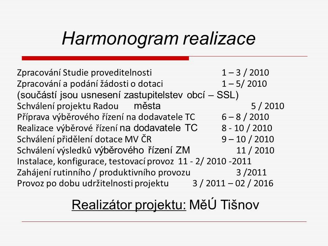 Realizátor projektu: MěÚ Tišnov Harmonogram realizace Zpracování Studie proveditelnosti 1 – 3 / 2010 Zpracování a podání žádosti o dotaci 1 – 5/ 2010 (součástí jsou usnesení zastupitelstev obcí – SSL) Schválení projektu Radou města 5 / 2010 Příprava výběrového řízení na dodavatele TC 6 – 8 / 2010 Realizace výběrové řízení na dodavatele TC 8 - 10 / 2010 Schválení přidělení dotace MV ČR 9 – 10 / 2010 Schválení výsledků výběrového řízení ZM 11 / 2010 Instalace, konfigurace, testovací provoz 11 - 2/ 2010 -2011 Zahájení rutinního / produktivního provozu 3 /2011 Provoz po dobu udržitelnosti projektu 3 / 2011 – 02 / 2016