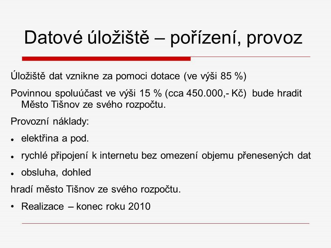 Datové úložiště – pořízení, provoz Úložiště dat vznikne za pomoci dotace (ve výši 85 %) Povinnou spoluúčast ve výši 15 % (cca 450.000,- Kč) bude hradit Město Tišnov ze svého rozpočtu.