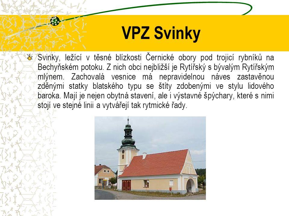 VPZ Svinky Svinky, ležící v těsné blízkosti Černické obory pod trojicí rybníků na Bechyňském potoku. Z nich obci nejbližší je Rytířský s bývalým Rytíř
