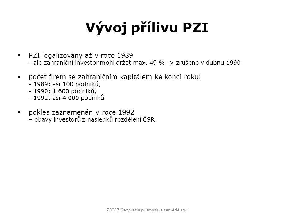 Vývoj přílivu PZI  PZI legalizovány až v roce 1989 - ale zahraniční investor mohl držet max. 49 % -> zrušeno v dubnu 1990  počet firem se zahraniční