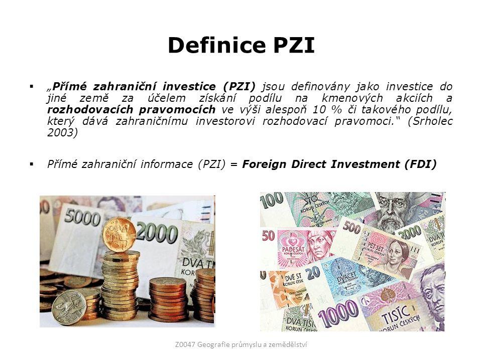"""Definice PZI  """"Přímé zahraniční investice (PZI) jsou definovány jako investice do jiné země za účelem získání podílu na kmenových akciích a rozhodovacích pravomocích ve výši alespoň 10 % či takového podílu, který dává zahraničnímu investorovi rozhodovací pravomoci. (Srholec 2003)  Přímé zahraniční informace (PZI) = Foreign Direct Investment (FDI) Z0047 Geografie průmyslu a zemědělství"""
