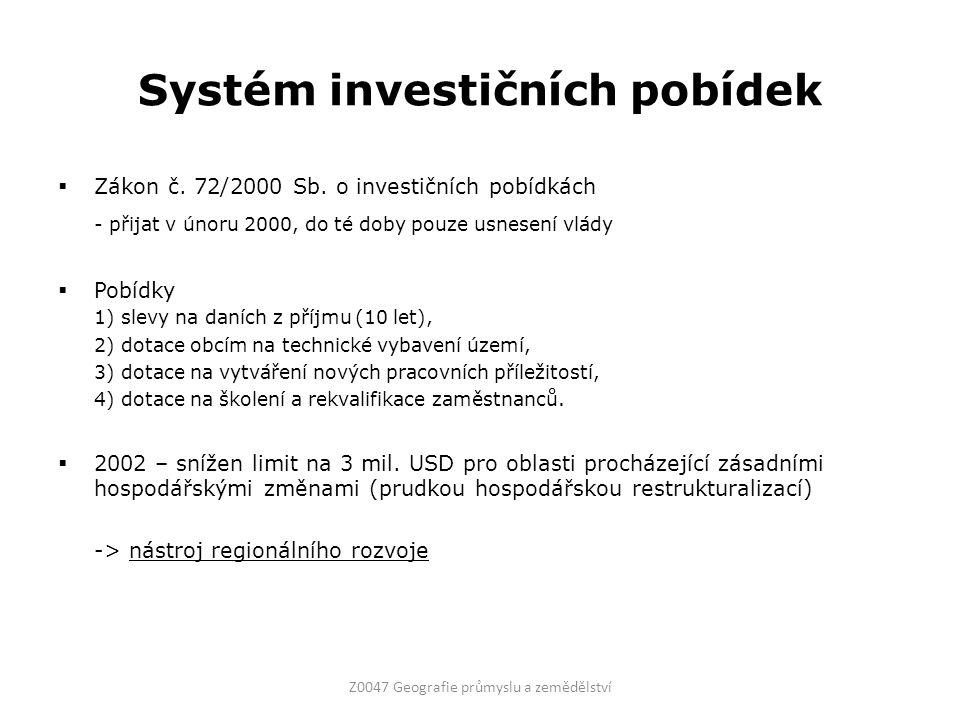 Systém investičních pobídek  Zákon č. 72/2000 Sb. o investičních pobídkách - přijat v únoru 2000, do té doby pouze usnesení vlády  Pobídky 1) slevy