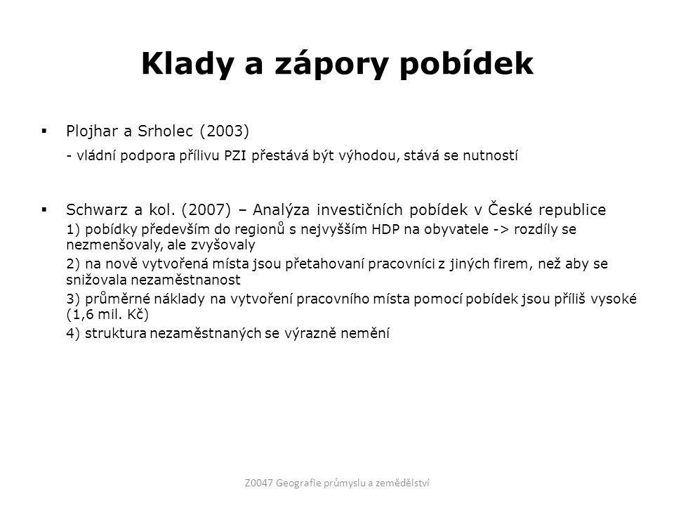 Klady a zápory pobídek  Plojhar a Srholec (2003) - vládní podpora přílivu PZI přestává být výhodou, stává se nutností  Schwarz a kol.