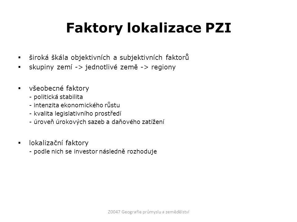 Faktory lokalizace PZI  široká škála objektivních a subjektivních faktorů  skupiny zemí -> jednotlivé země -> regiony  všeobecné faktory - politick