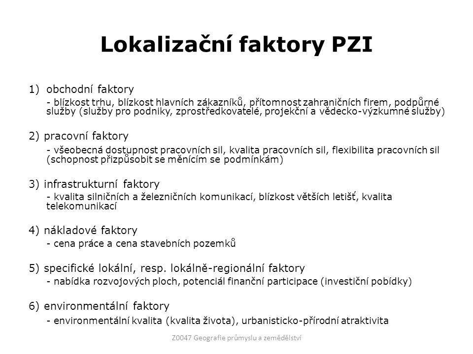 Lokalizační faktory PZI 1)obchodní faktory - blízkost trhu, blízkost hlavních zákazníků, přítomnost zahraničních firem, podpůrné služby (služby pro po