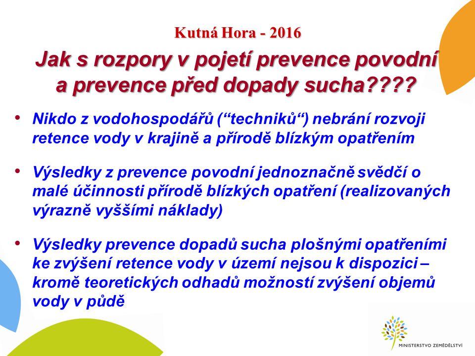 """Kutná Hora - 2016 Jak s rozpory v pojetí prevence povodní a prevence před dopady sucha???? Nikdo z vodohospodářů (""""techniků"""") nebrání rozvoji retence"""