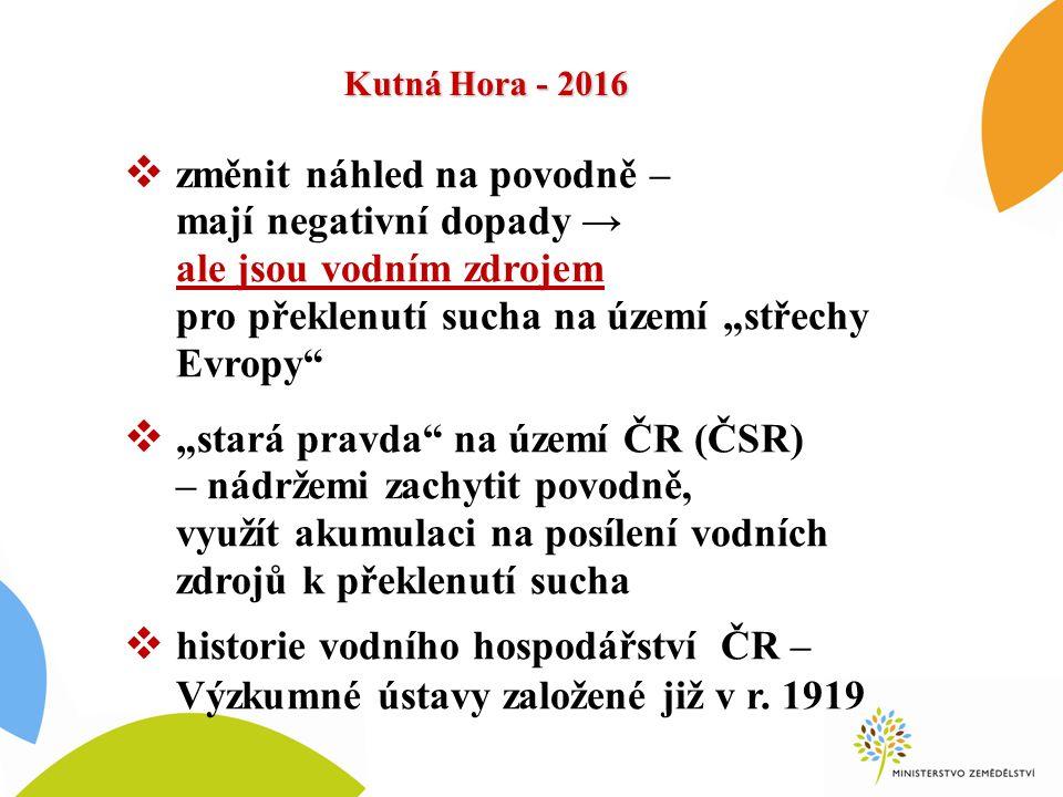 """Kutná Hora - 2016 """"sucho """"povodeň Celkem 9x od 1997 Celkem 2,5x od 1997 SUCHO 2003, 2014, 2015 POVODNĚ 1997, 1998, 2000, 2001, 2002 2006, 2009, 2010, 2013"""