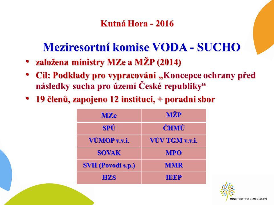 Kutná Hora - 2016 Meziresortní komise VODA - SUCHO založena ministry MZe a MŽP (2014) založena ministry MZe a MŽP (2014) Cíl: Podklady pro vypracování