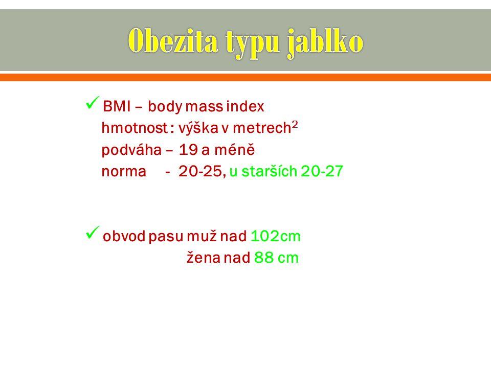 BMI – body mass index hmotnost : výška v metrech 2 podváha – 19 a méně norma - 20-25, u starších 20-27 nadváha - 26-30, u starších 28-30 obezita - 31 a více obvod pasu muž nad 102cm žena nad 88 cm