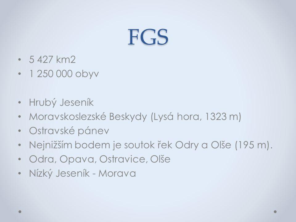FGS 5 427 km2 1 250 000 obyv Hrubý Jeseník Moravskoslezské Beskydy (Lysá hora, 1323 m) Ostravské pánev Nejnižším bodem je soutok řek Odry a Olše (195 m).