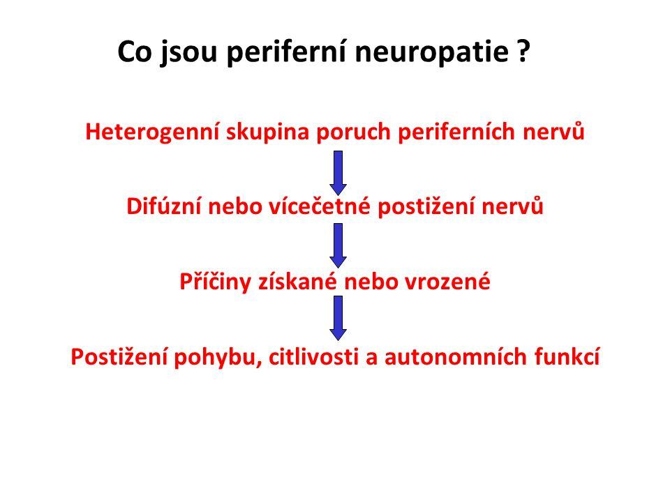 Diagnostika periferní neuropatie Senzitivní poruchy akroparestesie nebo taktilní hypestesie rukavicové nebo punčochovité distribuce porucha vibračního čití pallhypestesie na akrech DK (kalibrovaná ladička C 128 Hz)