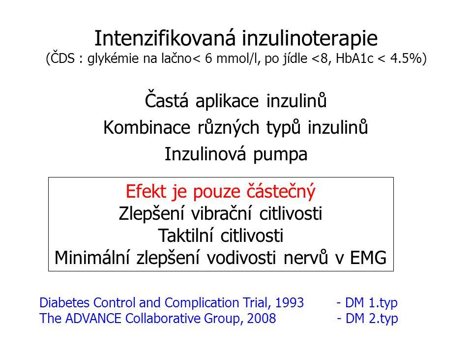 31 Farmakoterapie diabetické neuropatie Důležitější je zábranit jejímu vzniku než léčit symptomatickou formu Kauzální terapie ( inzulin - pro všechny formy) Symptomatická terapie ( TCA,GBP,PGB, SNRI - bolestivé formy ) Podpůrná terapie ( ALA, thiamin )
