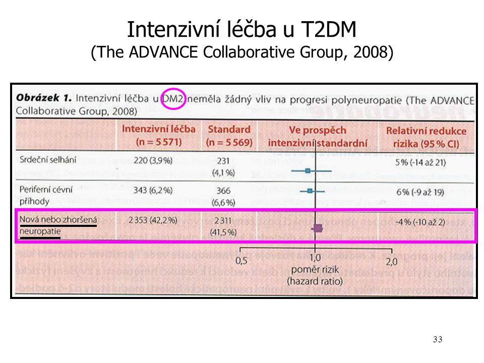 Intenzifikovaná inzulinoterapie (ČDS : glykémie na lačno< 6 mmol/l, po jídle <8, HbA1c < 4.5%) Častá aplikace inzulinů Kombinace různých typů inzulinů Inzulinová pumpa Efekt je pouze částečný Zlepšení vibrační citlivosti Taktilní citlivosti Minimální zlepšení vodivosti nervů v EMG Diabetes Control and Complication Trial, 1993 - DM 1.typ The ADVANCE Collaborative Group, 2008 - DM 2.typ