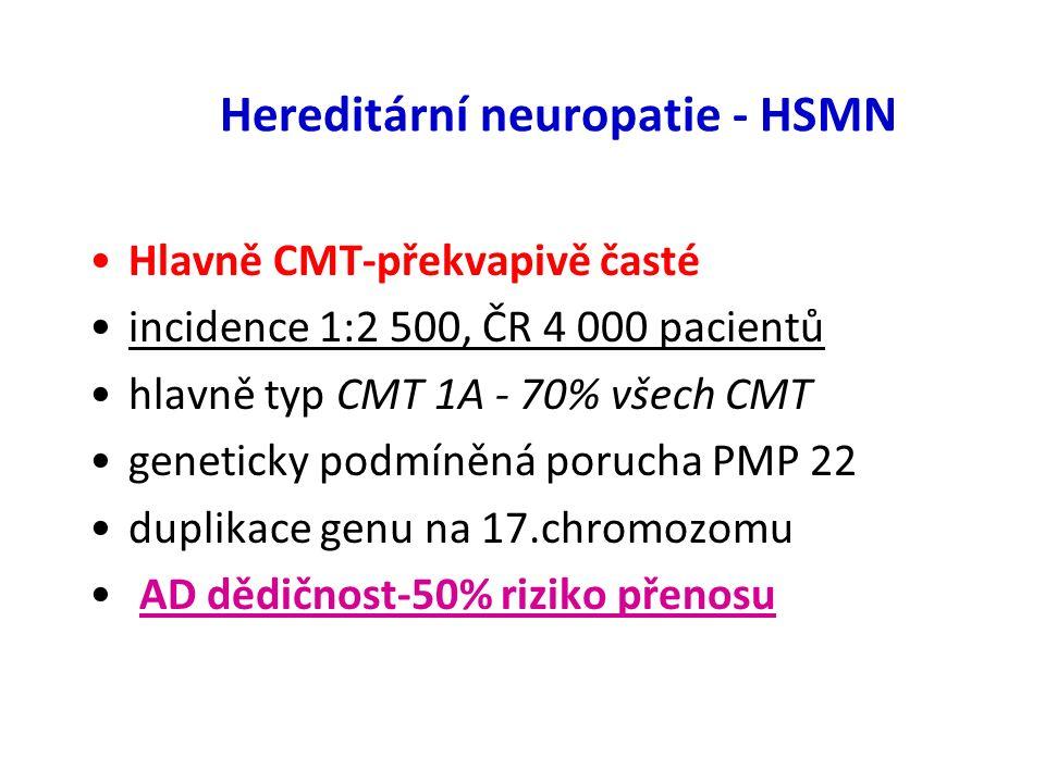 Dysimunitní neuropatie Guillain Barré sy-po infektu GIT nebo virose Evropa a sev.Amerika – 2-3 / 100 000 parestesie HK i DK,sval.slabost terapie IvIg, plasmaferéza CIDP-chronická zánětl.demyel.neuropatie Evropa - 1 – 7.7 / 100 000 progrese měsíce-parestesie a slabost DK terapie-steroidy,IvIg,cyklofosfamid plasmaferéza k navození remise