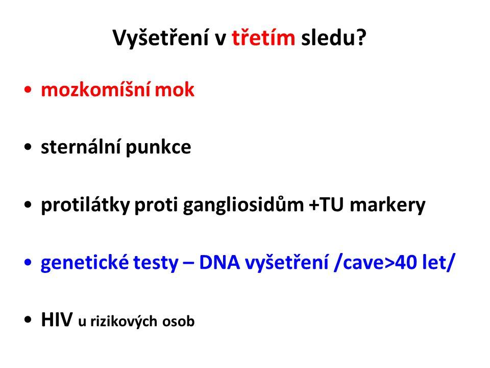 Vyšetření v druhém sledu ? T hormony - hypotyreóza Antineuronální nebo anti GG Ab serologie Lyme + panel herpetických virů serologie atypických patoge