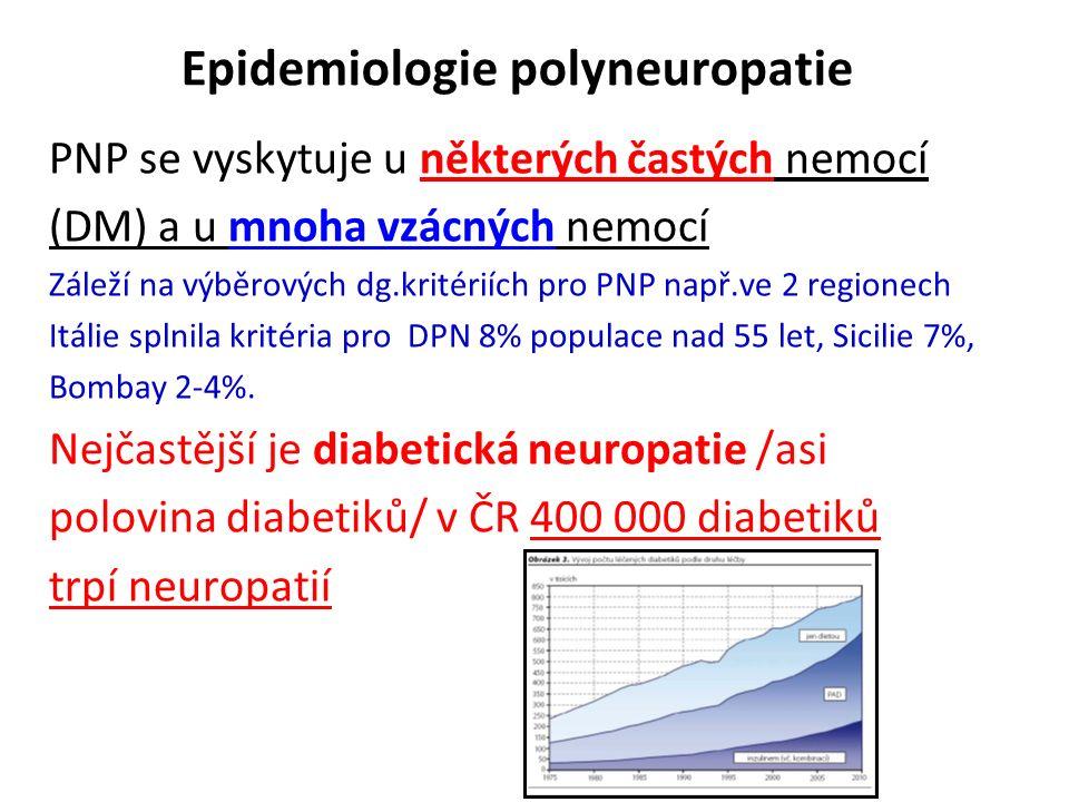Epidemiologie polyneuropatie PNP se vyskytuje u některých častých nemocí (DM) a u mnoha vzácných nemocí Záleží na výběrových dg.kritériích pro PNP např.ve 2 regionech Itálie splnila kritéria pro DPN 8% populace nad 55 let, Sicilie 7%, Bombay 2-4%.