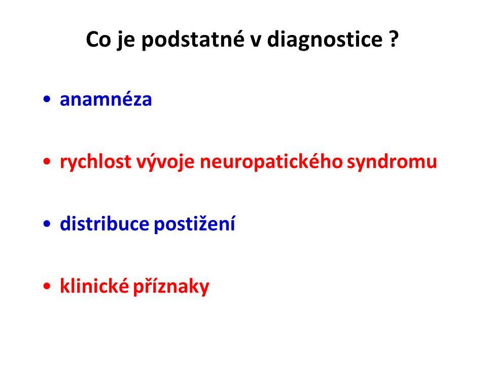 Co je pro polyneuropatie typické? postihují hlavně dlouhé nervy na DK (lenght dependent) potíže se manifestují hlavně distálně potíže jsou typicky kli