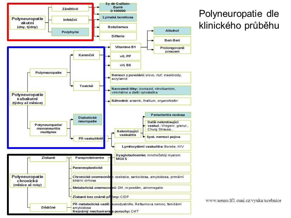 Anamnéza rodinný výskyt deformity DK /pes cavus/ hereditární neuropatie asociace se základním onemocněním / DM, thyreopatie,malignita,urémie,porfýrie / abusus alkoholu alkoholová PNP přisátí klíštěte neuroborelióza průjmy - C.jejuni infekce GBS- AMAN