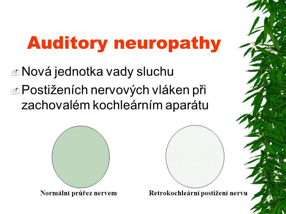 Auditory neuropathy  Nová jednotka vady sluchu  Postiženích nervových vláken při zachovalém kochleárním aparátu Normální průřez nervem Retrokochleární postižení nervu