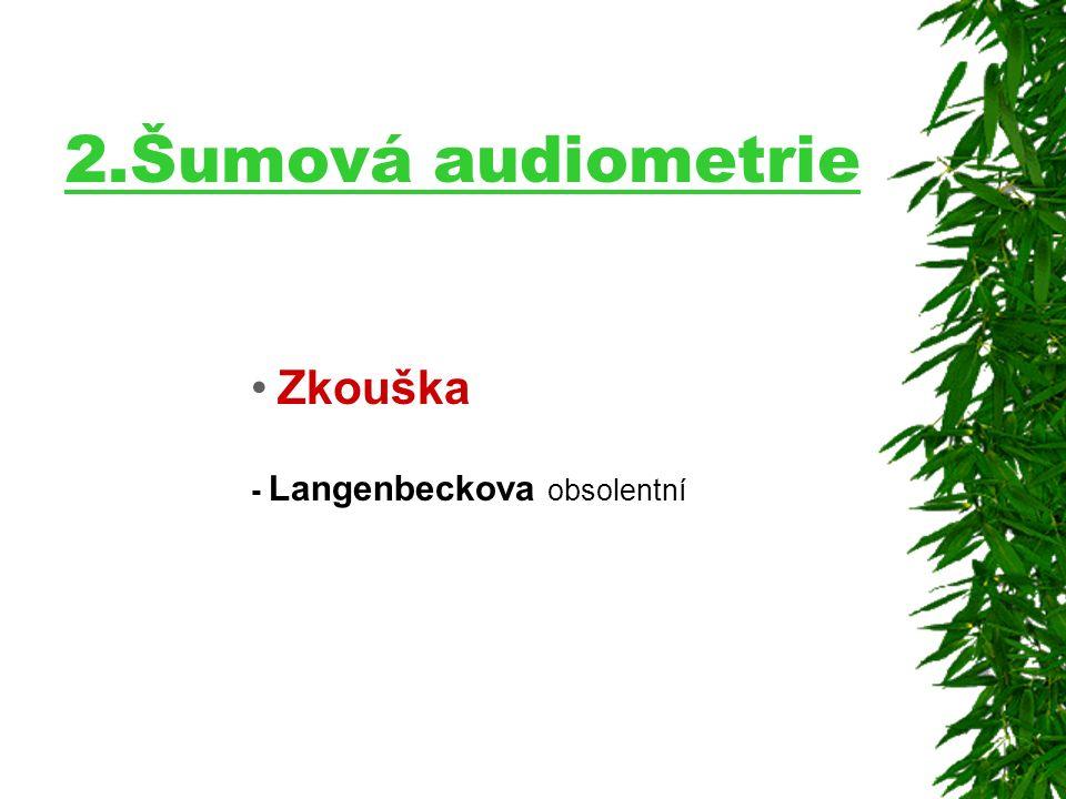 2.Šumová audiometrie Zkouška - Langenbeckova obsolentní