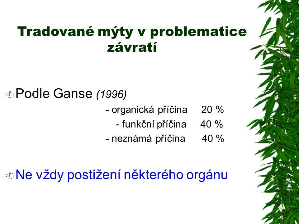Tradované mýty v problematice závratí  Podle Ganse (1996) - organická příčina 20 % - funkční příčina 40 % - neznámá příčina 40 %  Ne vždy postižení některého orgánu