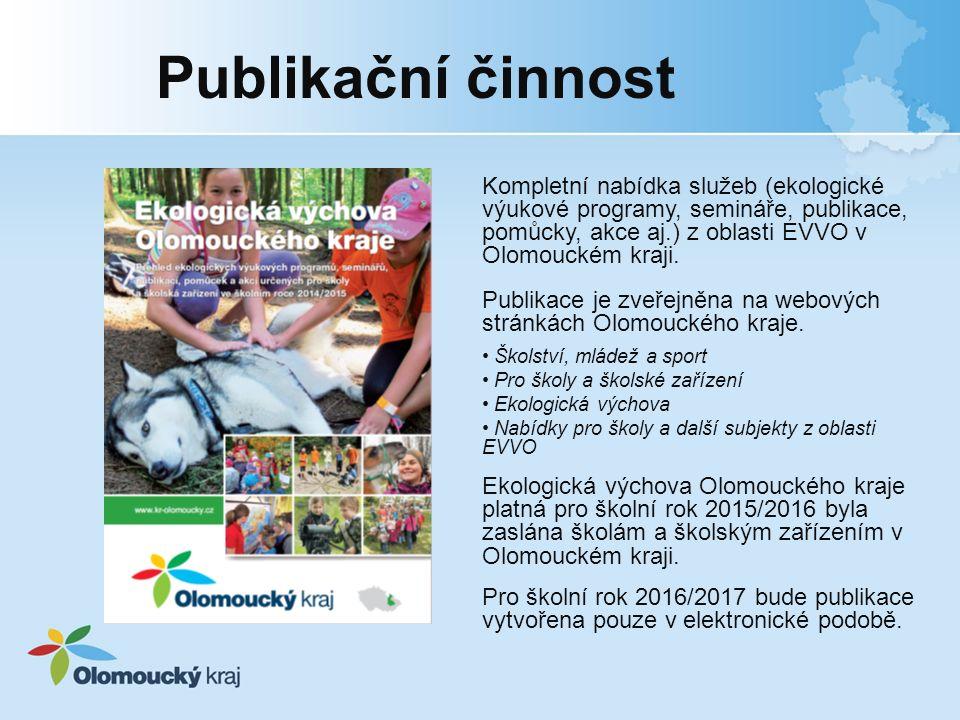 Publikační činnost Kompletní nabídka služeb (ekologické výukové programy, semináře, publikace, pomůcky, akce aj.) z oblasti EVVO v Olomouckém kraji.