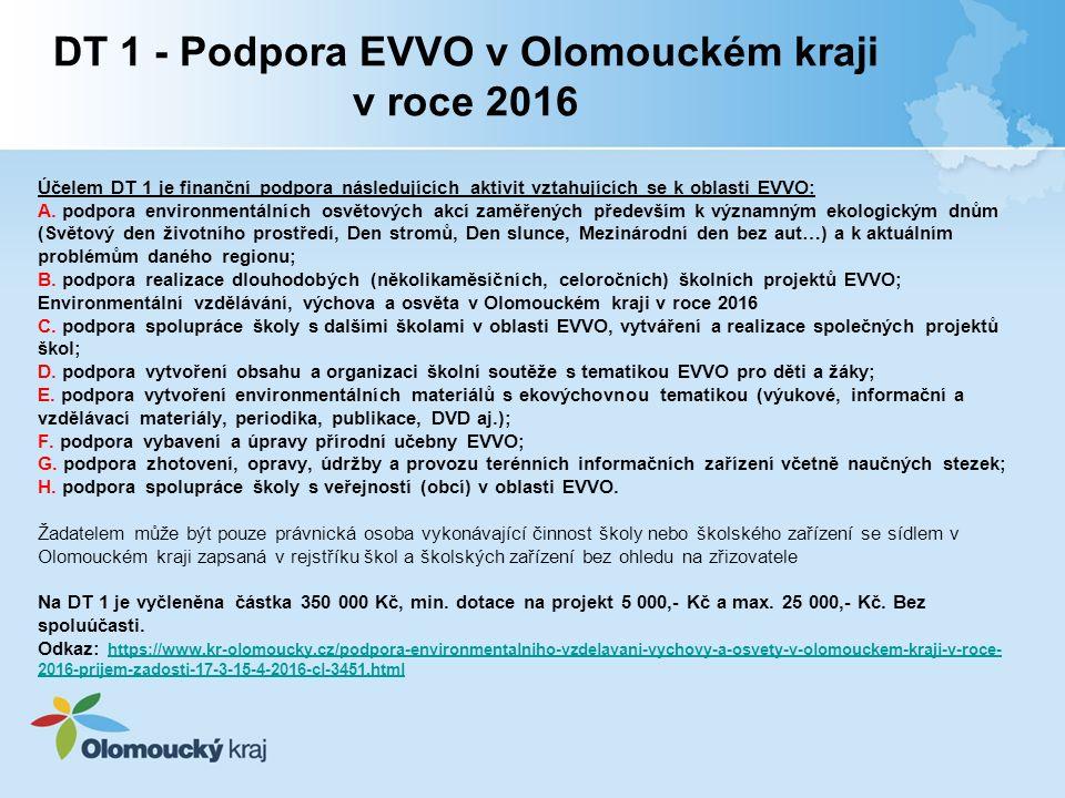 Účelem DT 1 je finanční podpora následujících aktivit vztahujících se k oblasti EVVO: A.