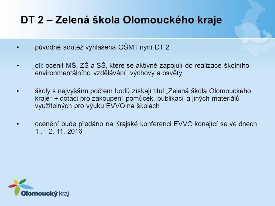 """původně soutěž vyhlášená OŠMT nyní DT 2 cíl: ocenit MŠ, ZŠ a SŠ, které se aktivně zapojují do realizace školního environmentálního vzdělávání, výchovy a osvěty školy s nejvyšším počtem bodů získají titul """"Zelená škola Olomouckého kraje + dotaci pro zakoupení pomůcek, publikací a jiných materiálů využitelných pro výuku EVVO na školách ocenění bude předáno na Krajské konferenci EVVO konající se ve dnech 1."""