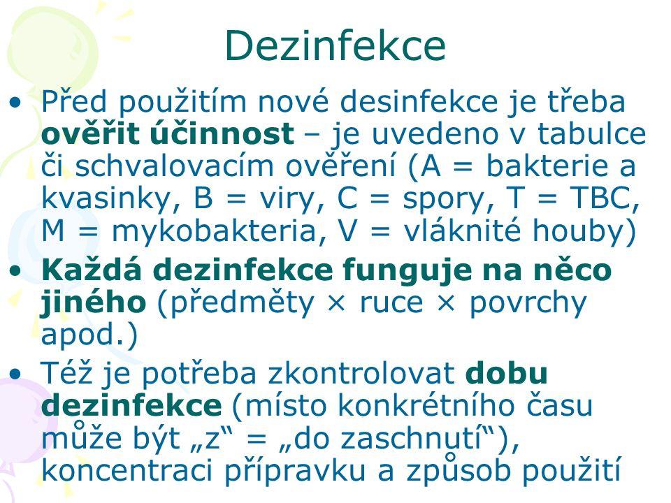 """Před použitím nové desinfekce je třeba ověřit účinnost – je uvedeno v tabulce či schvalovacím ověření (A = bakterie a kvasinky, B = viry, C = spory, T = TBC, M = mykobakteria, V = vláknité houby) Každá dezinfekce funguje na něco jiného (předměty × ruce × povrchy apod.) Též je potřeba zkontrolovat dobu dezinfekce (místo konkrétního času může být """"z = """"do zaschnutí ), koncentraci přípravku a způsob použití Dezinfekce"""