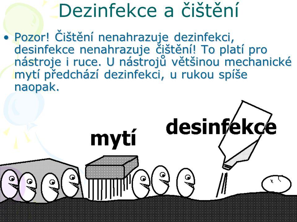Dezinfekce a čištění Pozor.Čištění nenahrazuje dezinfekci, desinfekce nenahrazuje čištění.
