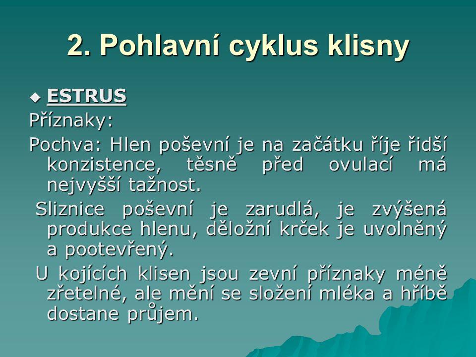 2. Pohlavní cyklus klisny  ESTRUS Příznaky: Pochva: Hlen poševní je na začátku říje řidší konzistence, těsně před ovulací má nejvyšší tažnost. Slizni