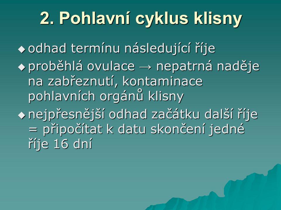 2. Pohlavní cyklus klisny  odhad termínu následující říje  proběhlá ovulace → nepatrná naděje na zabřeznutí, kontaminace pohlavních orgánů klisny 
