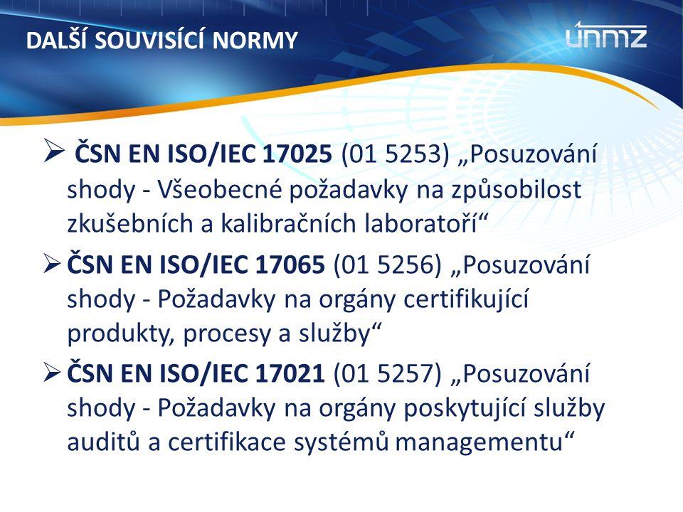 """DALŠÍ SOUVISÍCÍ NORMY  ČSN EN ISO/IEC 17025 (01 5253) """"Posuzování shody - Všeobecné požadavky na způsobilost zkušebních a kalibračních laboratoří  ČSN EN ISO/IEC 17065 (01 5256) """"Posuzování shody - Požadavky na orgány certifikující produkty, procesy a služby  ČSN EN ISO/IEC 17021 (01 5257) """"Posuzování shody - Požadavky na orgány poskytující služby auditů a certifikace systémů managementu"""