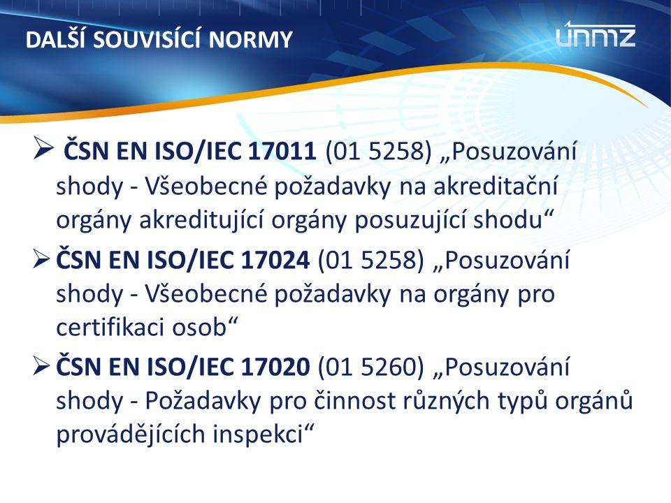 """DALŠÍ SOUVISÍCÍ NORMY  ČSN EN ISO/IEC 17011 (01 5258) """"Posuzování shody - Všeobecné požadavky na akreditační orgány akreditující orgány posuzující shodu  ČSN EN ISO/IEC 17024 (01 5258) """"Posuzování shody - Všeobecné požadavky na orgány pro certifikaci osob  ČSN EN ISO/IEC 17020 (01 5260) """"Posuzování shody - Požadavky pro činnost různých typů orgánů provádějících inspekci"""