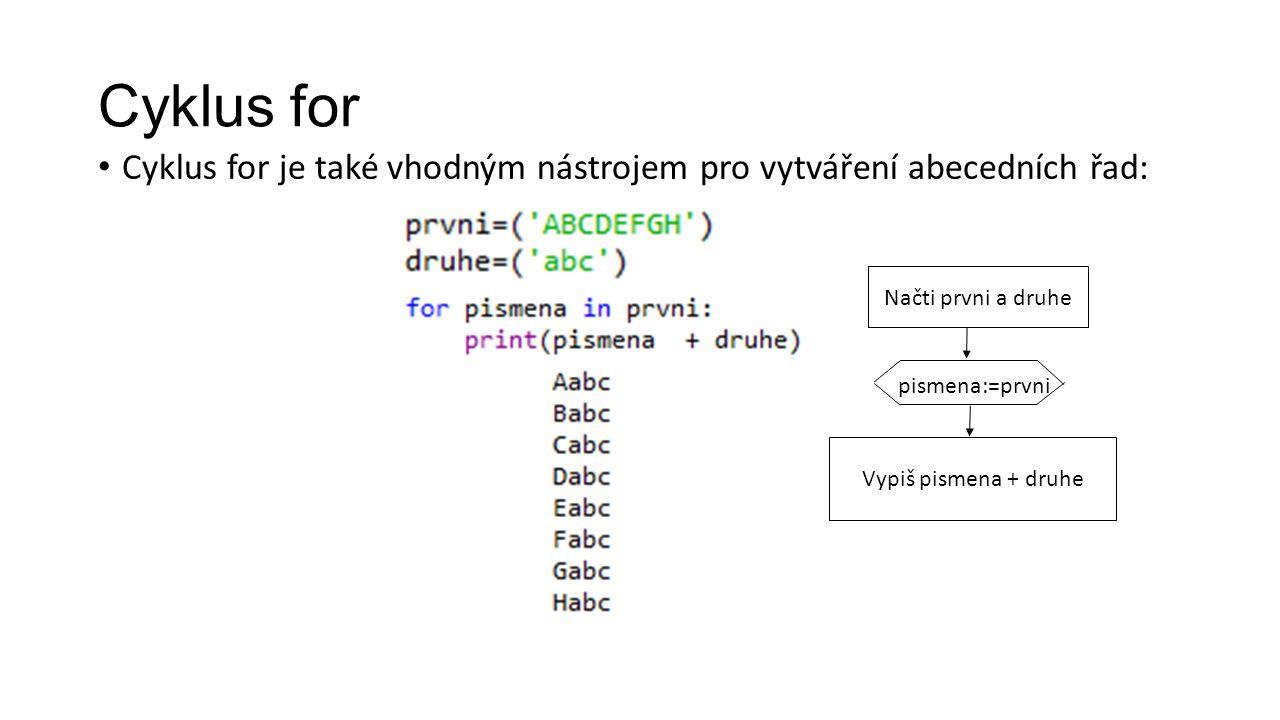 Cyklus for Cyklus for je také vhodným nástrojem pro vytváření abecedních řad: pismena:=prvni Vypiš pismena + druhe Načti prvni a druhe