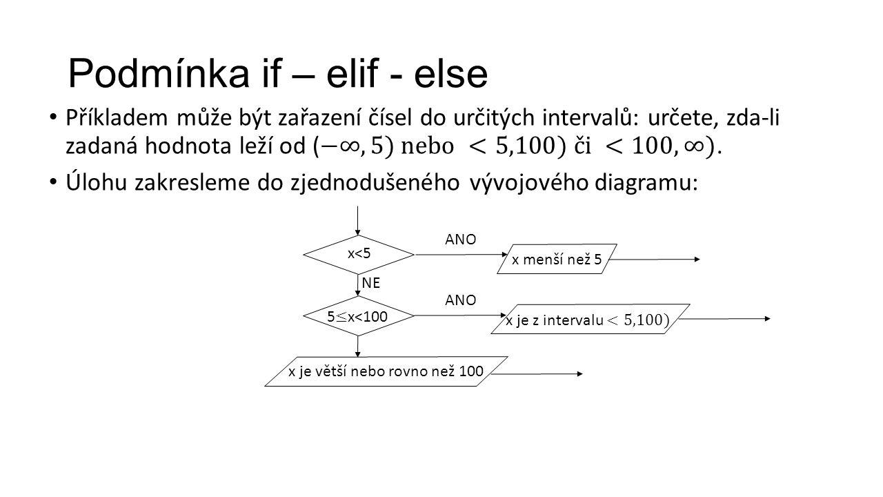 Podmínka if – elif - else x<5 ANO NE ANO x menší než 5 x je větší nebo rovno než 100
