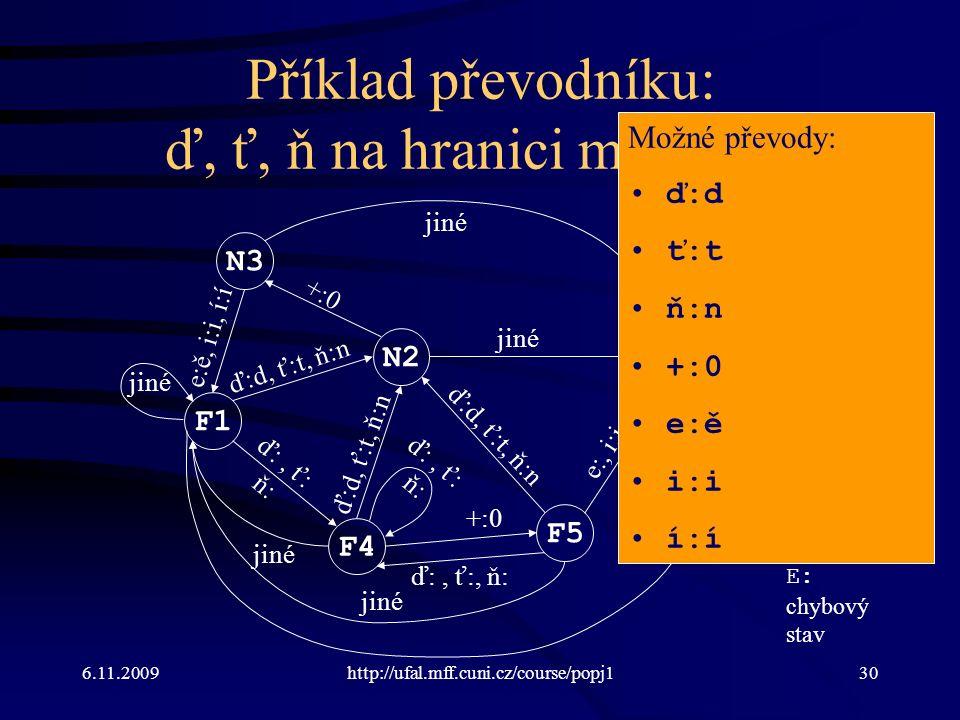 6.11.2009http://ufal.mff.cuni.cz/course/popj130 Příklad převodníku: ď, ť, ň na hranici morfémů F1 N2 N3 F4 F5 E0 ď:d, ť:t, ň:n +:0 e:ě, i:i, í:í ď:, ť: ň: e:, i:i, í:í jiné e:ě ď:d, ť:t, ň:n ď:, ť: ň: jiné ď:, ť:, ň: ď:d, ť:t, ň:n N: nekoncový stav F: koncový stav E: chybový stav Možné převody: ď:d ť:t ň:n +:0 e:ě i:i í:í