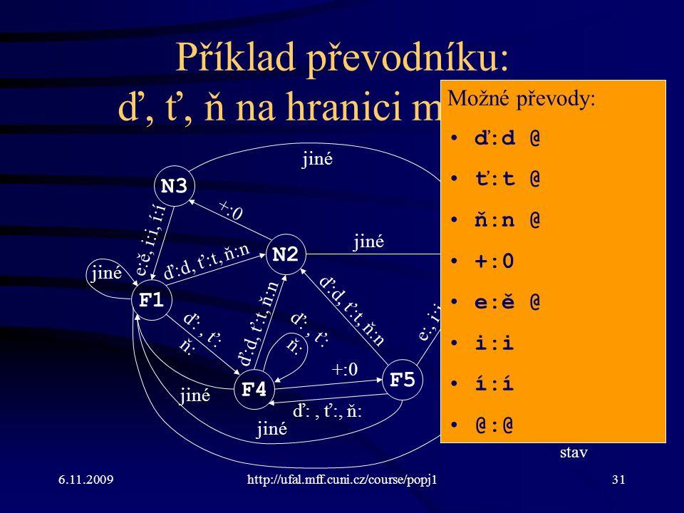 6.11.2009http://ufal.mff.cuni.cz/course/popj131 Příklad převodníku: ď, ť, ň na hranici morfémů F1 N2 N3 F4 F5 E0 ď:d, ť:t, ň:n +:0 e:ě, i:i, í:í ď:, ť: ň: e:, i:i, í:í jiné e:ě ď:d, ť:t, ň:n ď:, ť: ň: jiné ď:, ť:, ň: ď:d, ť:t, ň:n N: nekoncový stav F: koncový stav E: chybový stav Možné převody: ď:d @ ť:t @ ň:n @ +:0 e:ě @ i:i í:í @:@