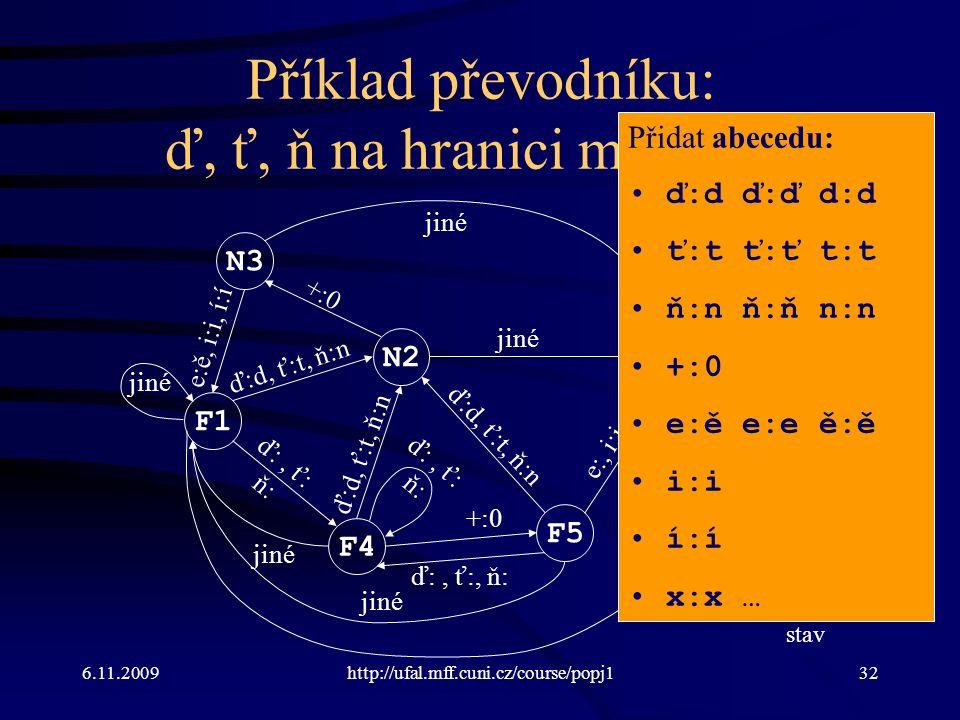 6.11.2009http://ufal.mff.cuni.cz/course/popj132 Příklad převodníku: ď, ť, ň na hranici morfémů F1 N2 N3 F4 F5 E0 ď:d, ť:t, ň:n +:0 e:ě, i:i, í:í ď:, ť: ň: e:, i:i, í:í jiné e:ě ď:d, ť:t, ň:n ď:, ť: ň: jiné ď:, ť:, ň: ď:d, ť:t, ň:n N: nekoncový stav F: koncový stav E: chybový stav Přidat abecedu: ď:d ď:ď d:d ť:t ť:ť t:t ň:n ň:ň n:n +:0 e:ě e:e ě:ě i:i í:í x:x …