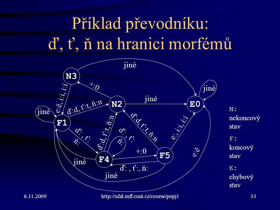 6.11.2009http://ufal.mff.cuni.cz/course/popj133 Příklad převodníku: ď, ť, ň na hranici morfémů F1 N2 N3 F4 F5 E0 ď:d, ť:t, ň:n +:0 e:ě, i:i, í:í ď:, ť: ň: e:, i:i, í:í jiné e:ě ď:d, ť:t, ň:n ď:, ť: ň: jiné ď:, ť:, ň: ď:d, ť:t, ň:n N: nekoncový stav F: koncový stav E: chybový stav