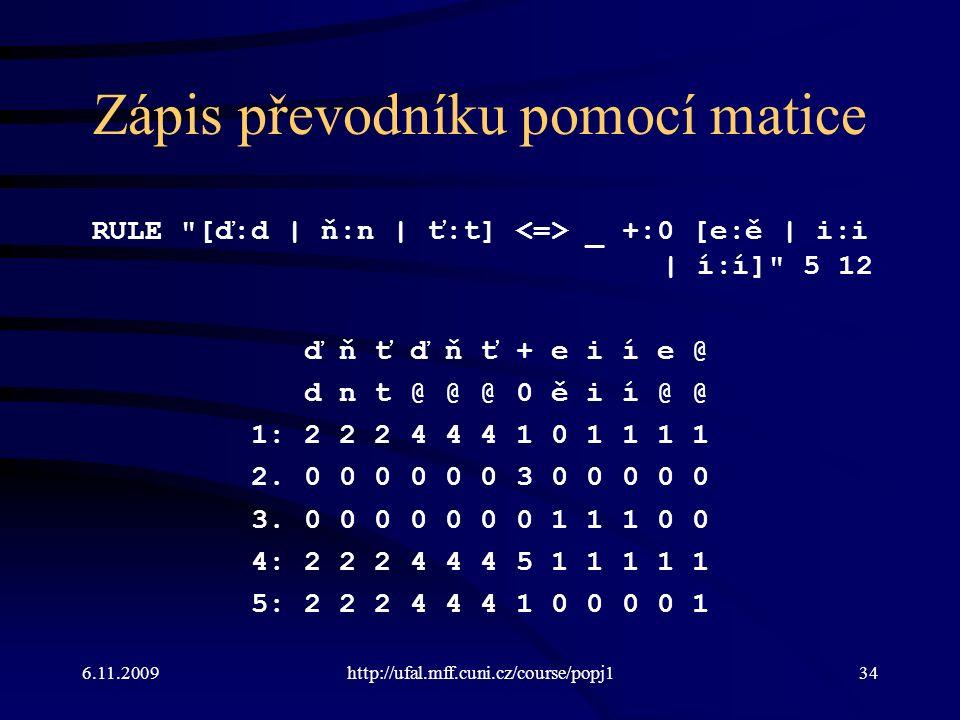6.11.2009http://ufal.mff.cuni.cz/course/popj134 Zápis převodníku pomocí matice RULE