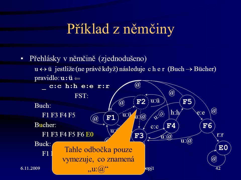 """6.11.2009http://ufal.mff.cuni.cz/course/popj142 Příklad z němčiny Přehlásky v němčině (zjednodušeno) u  ü jestliže (ne právě když) následuje c h e r (Buch  Bücher) pravidlo: u:ü  _ c:c h:h e:e r:r FST: Buch: F1 F3 F4 F5 Bucher: F1 F3 F4 F5 F6 E0 Buck: F1 F3 F4 F1 F5 F4F6 E0 F1 F2 u:ü F3 u:@ c:c h:he:e r:r u:@ u:ü @ @ @ u:@ @ @ @ @ Tahle odbočka pouze vymezuje, co znamená """"u:@"""